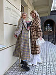 Пальто гусяча лапка прямого крою в стилі oversive жіноча з поясом, фото 4
