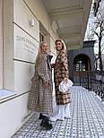 Пальто гусиная лапка прямого кроя в стиле oversive с поясом женское, фото 5