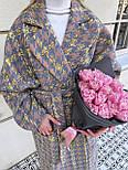 Пальто гусиная лапка прямого кроя в стиле oversive с поясом женское, фото 7
