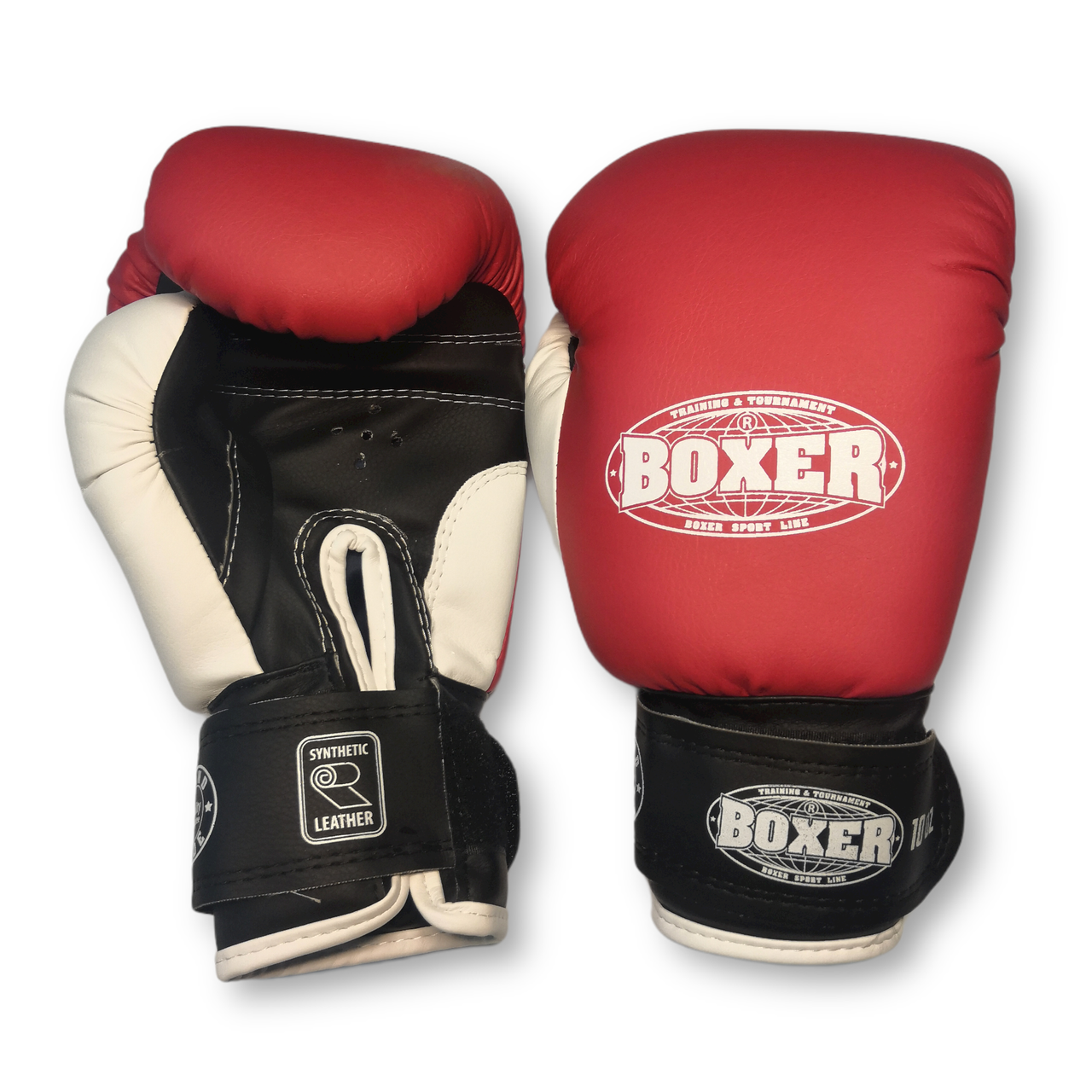 Детские боксерские перчатки кожвинил 6 оz, красный BOXER