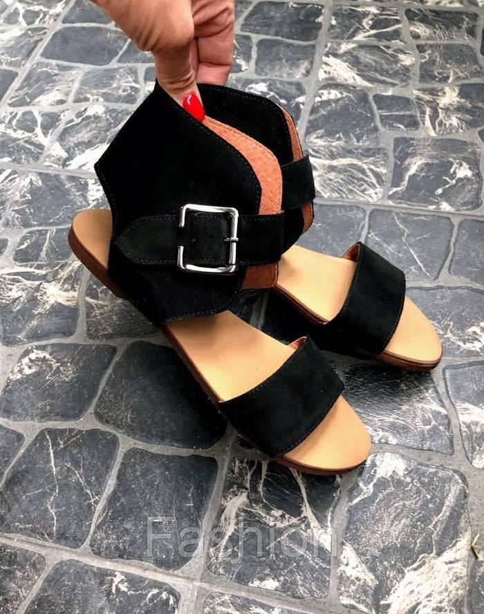 Сандалии женские черная замша