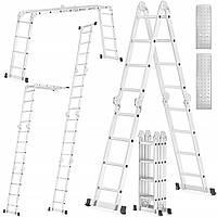 Шарнирная лестница - стремянка трансформер HIGHER 4x4 с платформой универсальная алюминиевая лестница