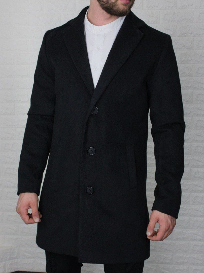 Мужское пальто из кашемира  чёрное и темно-синее Сл 2000