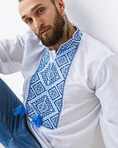 Мужская сорочка Остап с синим орнаментом