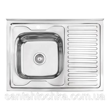 Кухонная мойка Lidz 6080-L Polish 0,6 мм (LIDZ6080LPOL06), фото 2