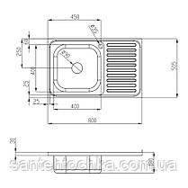 Кухонна мийка Lidz 5080-L Polish 0,8 мм (LIDZ5080LPOL08), фото 2