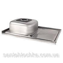 Кухонна мийка Lidz 5080-L Polish 0,8 мм (LIDZ5080LPOL08), фото 3