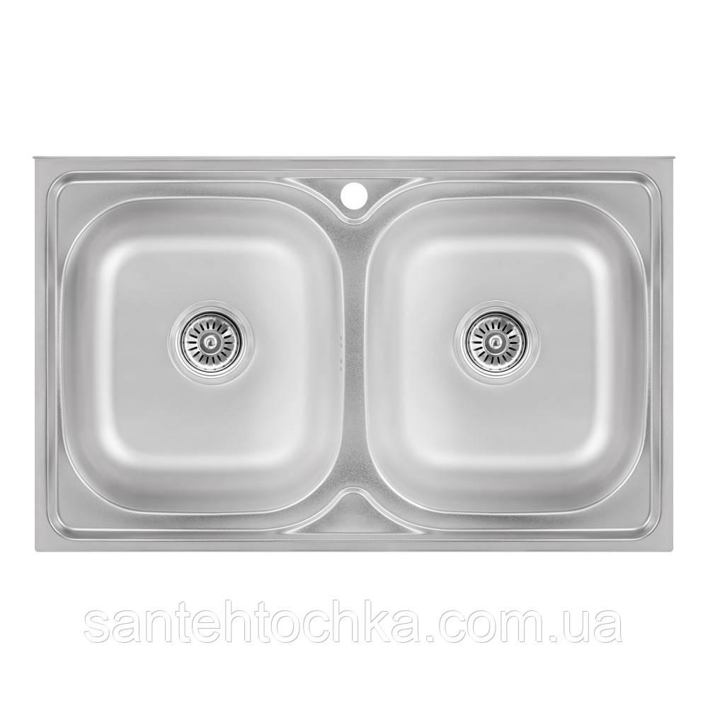 Кухонна мийка Lidz 5080 Satin 0,8 мм (LIDZ5080SAT8)
