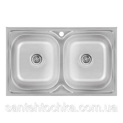 Кухонна мийка Lidz 5080 Satin 0,8 мм (LIDZ5080SAT8), фото 2