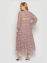 Длинное платье из шифона весна-лето с вырезами на рукавах принт цветочек, большие размеры от 52 до 58, фото 3