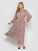 Длинное платье из шифона весна-лето с вырезами на рукавах принт цветочек, большие размеры от 52 до 58