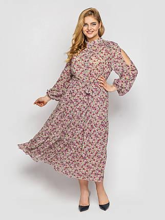 Длинное платье из шифона весна-лето с вырезами на рукавах принт цветочек, большие размеры от 52 до 58, фото 2