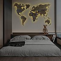 Карта Мира 3D с подсветкой, гравировкой названий стран и границ, многоуровневая карта M-150x90 см