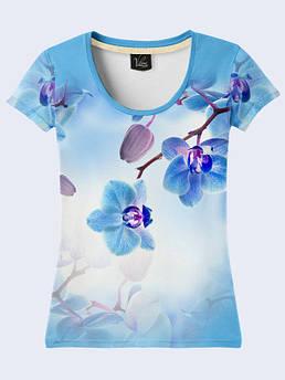 Футболка женская с цветочным принтом Голубая орхидея