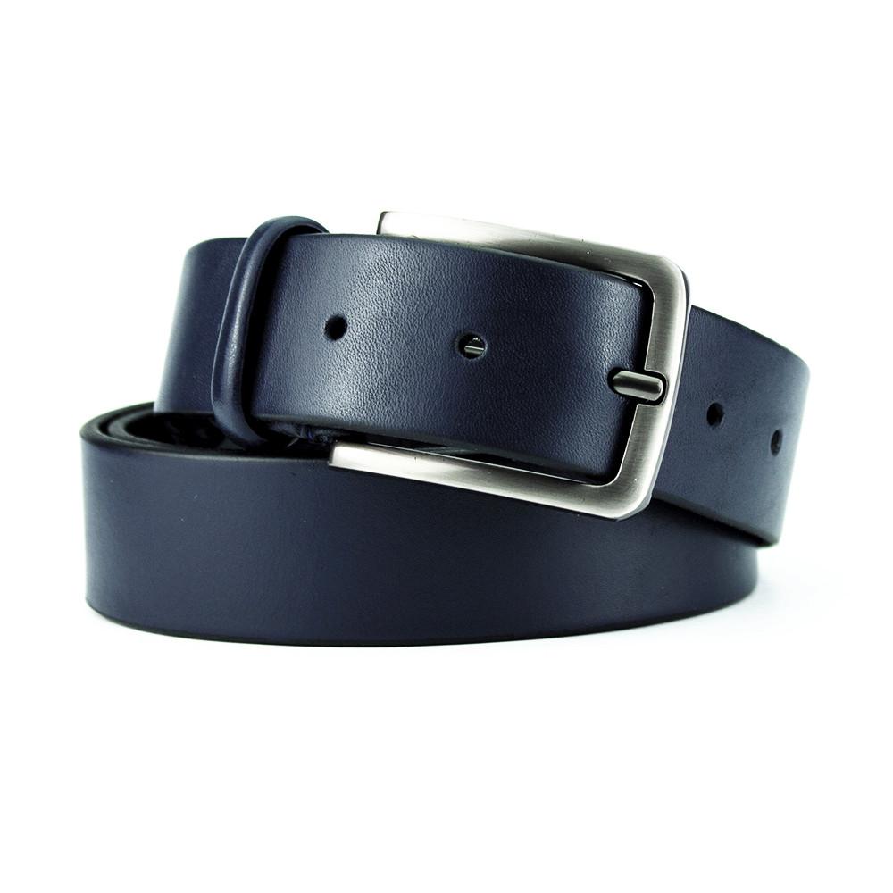 Ремень мужской кожаный классический синий PS-3596 blue (130 см)