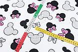 """Лоскут ткани """"Большие Микки с точками и малиновым бантом"""" на белом, № 2922а, размер 31*80 см, фото 3"""