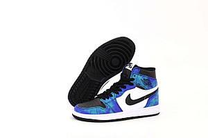 Баскетбольные кроссовки синего цвета Nike Air Jordan Retro 1 Mid Sky (Найк Аир Джордан 36-45)