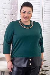 Модний джемпер для повних жінок з трикотажу зелений