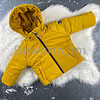 Детская демисезонная куртка-пуффер цвет горчица