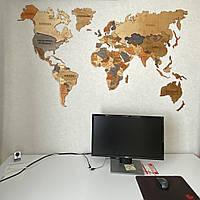 Деревянная карта Мира c LED подсветкой с гравировкой стран и границ многоуровневая S-120x70 см