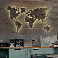 Карта Мира 3D с подсветкой, гравировкой названий стран и границ, многоуровневая карта ХL-200x120 см