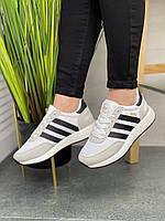 Женские кроссовки Adidas Iniki Runner (белые). Демисезонные замшевые кроссовки Адидас
