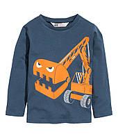 """Детская футболка с длинным рукавом """"Экскаватор"""" для мальчика"""