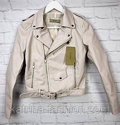 Жіноча куртка-косуха з еко-шкіри з ременем (в кольорах)
