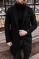 Пальто мужское демисезонное Gang черное | Мужское пальто весеннее осеннее кашемировое ЛЮКС качества