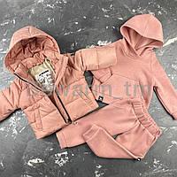 Детская демисезонная куртка-пуффер цвет пудра
