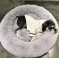 Пушистый лежак-лежанка для собак и кошек спальные места для домашних животных внешний диаметр 60 см