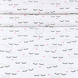 """Лоскут ткани """"Ресницы и розовые сердечки"""" на белом (№3404), размер 35*120 см, фото 2"""