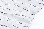 """Лоскут ткани """"Ресницы и розовые сердечки"""" на белом (№3404), размер 35*120 см, фото 3"""