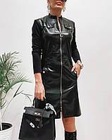 Сукня із екошкіри жіноча ЧОРНА (ПОШТУЧНО), фото 1