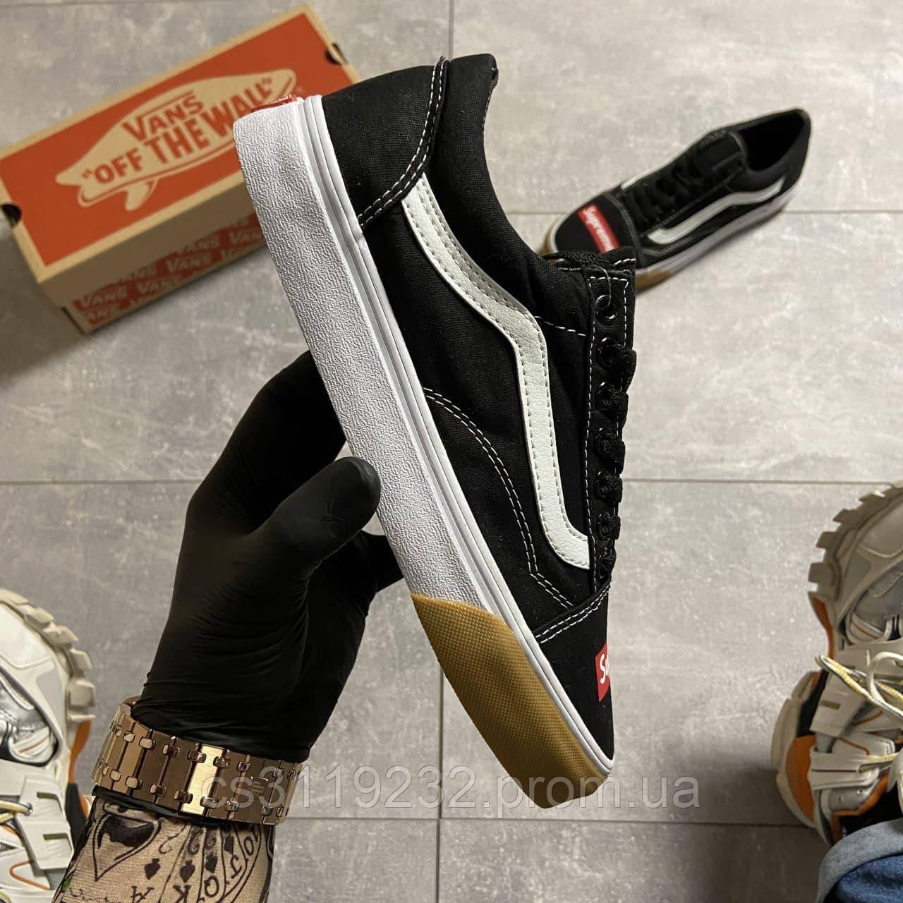 Женские кеды Vans Old Skool Black/White SUPREME (черные)