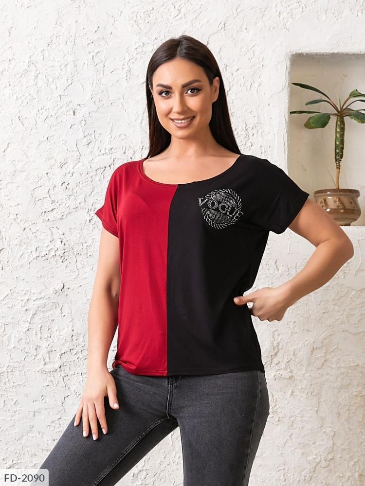 Двоколірна футболка жіноча «Vogue» (Батал)