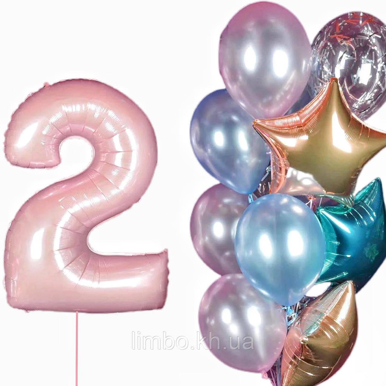 Набір куль на день народження і кулька цифра 2