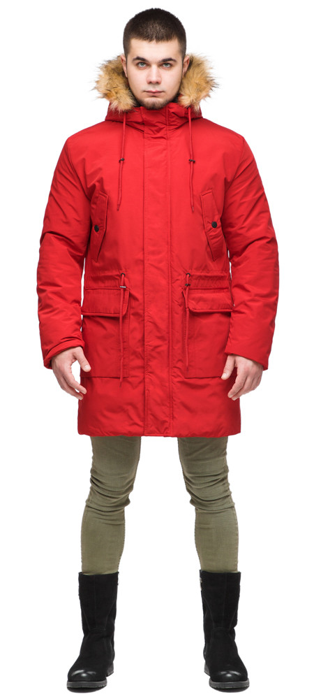 Молодежная мужская красная зимняя парка с карманами модель 25690 (ОСТАЛСЯ ТОЛЬКО 48(M))