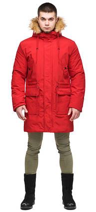 Молодежная мужская красная зимняя парка с карманами модель 25690 (ОСТАЛСЯ ТОЛЬКО 48(M)), фото 2