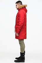 Молодежная мужская красная зимняя парка с карманами модель 25690 (ОСТАЛСЯ ТОЛЬКО 48(M)), фото 3