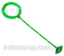 Светящаяся скакалка на одну ногу зелёная, нейроскакалка с колесиком с доставкой по Украине (TI)