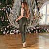 Жіночі стильні завужені шкіряні штани, зі стрілками спереду, норма та батал великі розміри, фото 3
