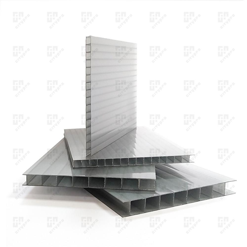 Сотовый поликарбонат Полигаль, серебристый 18%, лист 2.1 х 12 м, 8 мм