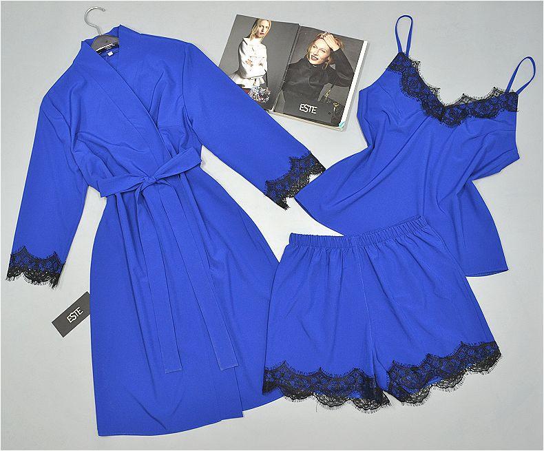 Комплект домашней одежды Халат и пижама ( майка+шорты) синий электрик.