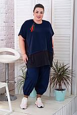 Оригінальна туніка для повних жінок супер батал темно-синя, фото 3