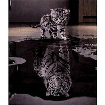 Алмазна мозаїка 30х40 см DIY Кошеня - Тигр «Вір у себе» (SM 70270)
