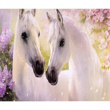 Алмазна мозаїка 30х40 см DIY Пара білих коней (SM 70956)
