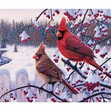 Алмазная мозаика 30х40 см DIY Красные кардиналы (SM 75891)
