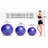 Фітбол (М'яч для фітнесу, гімнастичний) глянець OSPORT 65 см (OF-0018) Синій, фото 2