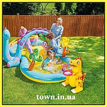 Надувной игровой центр с бассейном ПЛАНЕТА ДИНОЗАВРОВ 57135 Детский бассейн с горкой INTEX 333х229х112 см